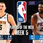 【NBAニュース】第5週の週間最優秀選手にニコラヨキッチとジョエルエンビードが選出