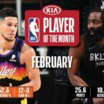 【NBAニュース】2月度月間最優秀選手にブッカーとハーデン、月間最優秀新人にボールとハリバートンが選出される